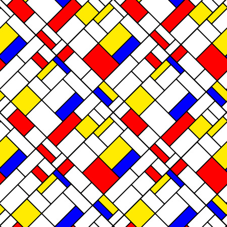 Colorful diagonal geometric squares mondrian style seamless pattern, vector Vector