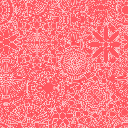 mandalas: Lacy white circle flower mandalas seamless pattern on pink, vector Illustration
