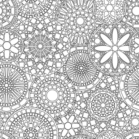 tile: Lacy circle flower mandalas seamless pattern in black and white, vector
