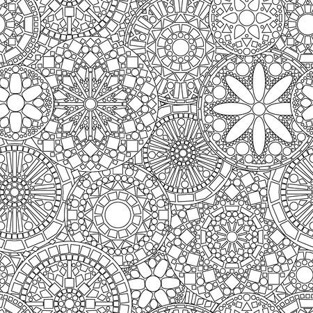 blanco: Mandalas círculo de encaje de flores sin fisuras patrón en blanco y negro, vector Vectores