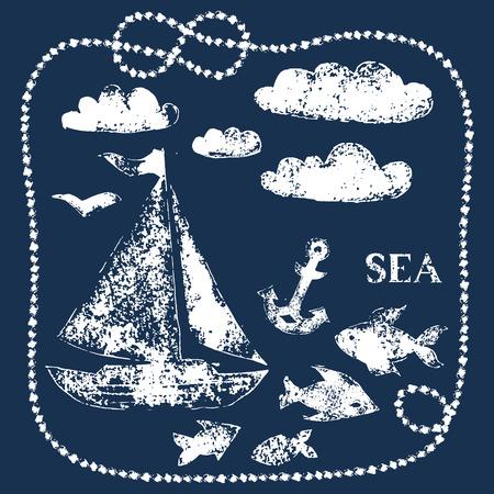 Éléments main mer Blanche thème imprimés sur le bleu marine - bateau, nuages, poissons, ancre, vecteur de fond Vecteurs