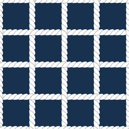 interlace: Bianco corda reticolo su navy blu geometrico senza soluzione di pattern, vettore
