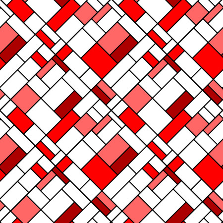 mondrian: Colorful diagonal geometric squares mondrian style seamless pattern in red, vector