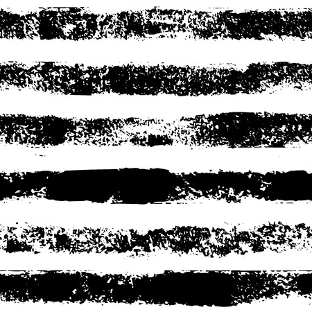 Black and white sponge print striped grunge seamless pattern, vector
