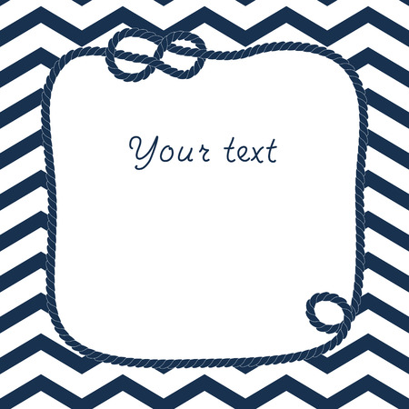 chevron background: Navy blue and white rope with marine knot frame for your text on chevron background, vector
