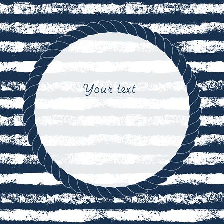 Bleu marine et blanc cercle cadre de corde sur fond rayé grunge pour votre texte ou image, vecteur