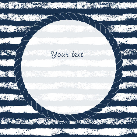 navy blue: Navy blue and white circle rope frame on grunge striped background for your text or image, vector