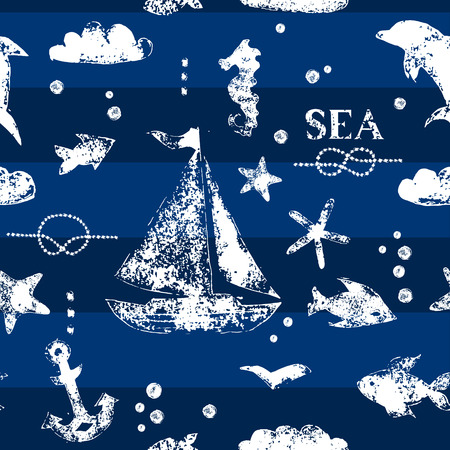 Grunge white stamp print sailboat, anchor, fishes, seagull on navy blue background seamless pattern, vector Vector