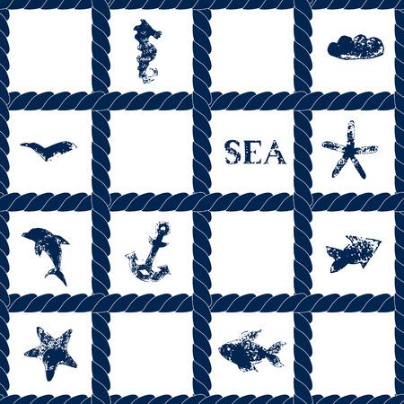 Marine corde bleue réseau sur blanc, seamless géométrique grunge avec des symboles de mer - poissons, dauphin, ancre, étoiles de mer, vecteur Vecteurs