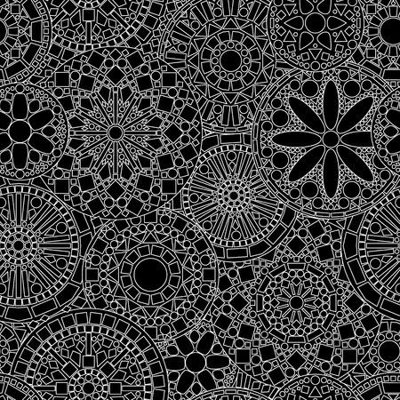 白と黒のレース円花マンダラ シームレスなパターン  イラスト・ベクター素材