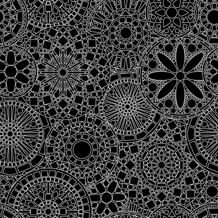 Lacy circle flower mandalas seamless pattern in black and white  Vector