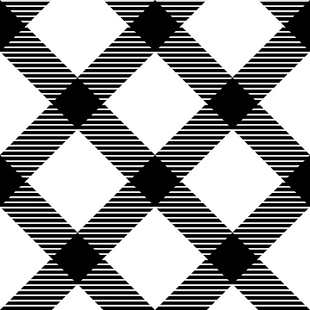Checkered gingham fabric seamless pattern in black and white  Vector