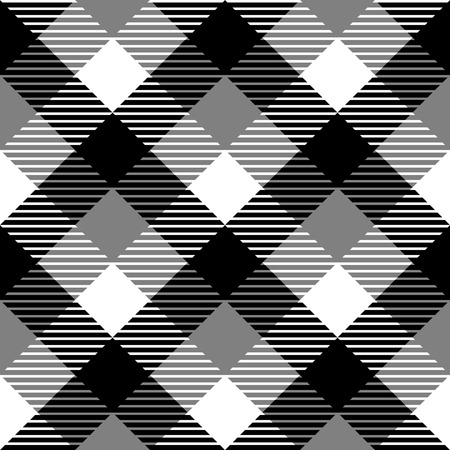 Checkered gingham fabric seamless pattern in black white and grey  Vector