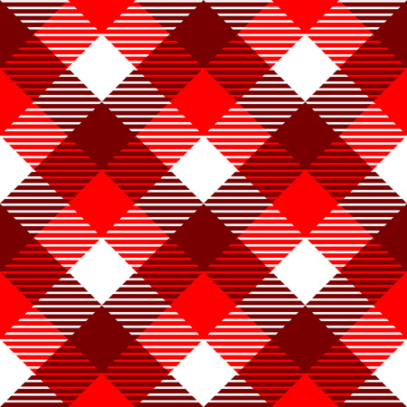 Checkered gingham fabric seamless pattern in red and white  Illustration