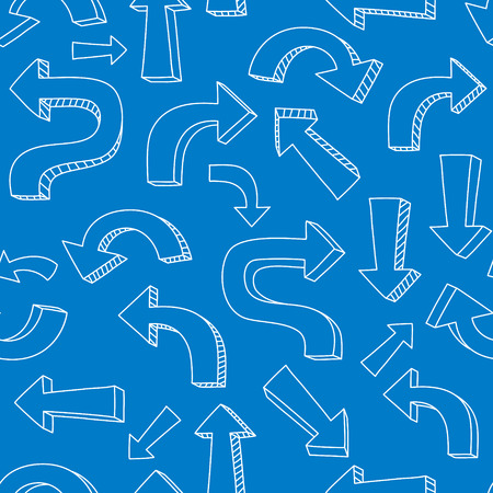 Sketchy white arrows and pointers on blue seamless pattern  Vector