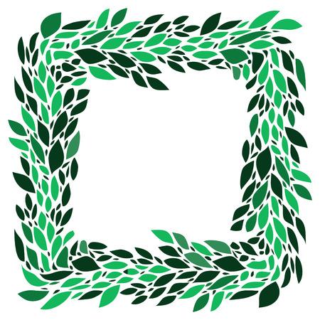Green leaves fresh spring wreath frame on white background, vector Illustration