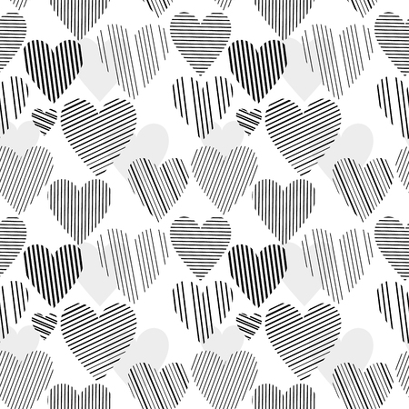vector hearts: Black and white striped hearts seamless pattern, vector