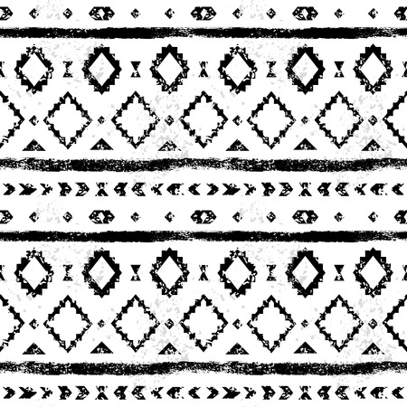 Black and white aged geometric aztec grunge seamless pattern, vector Vector