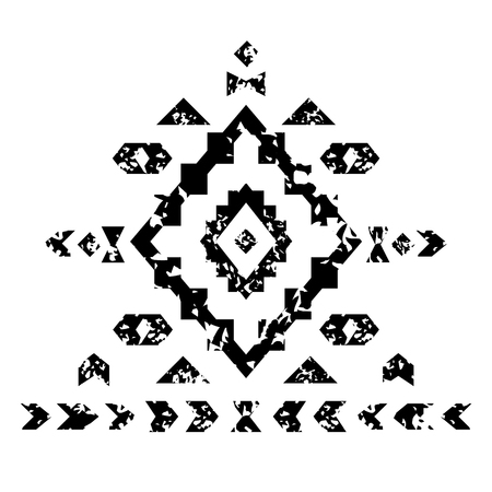 Black and white aged geometric aztec grunge pattern, vector Vector