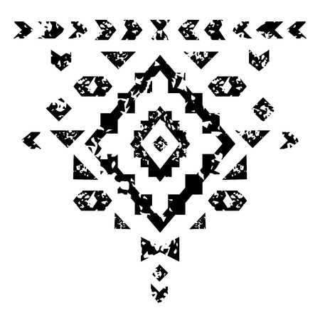 karma design: Black and white aged geometric aztec grunge ornament, vector