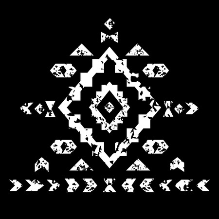 White aztec ornament on black geometric ethnic illustration, vector Vector