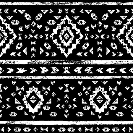 White aztec ornaments on black geometric ethnic seamless pattern, vector Vector