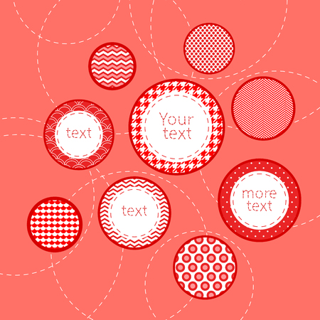 Red and white patterned circles geometric infographics template background, vector Vector