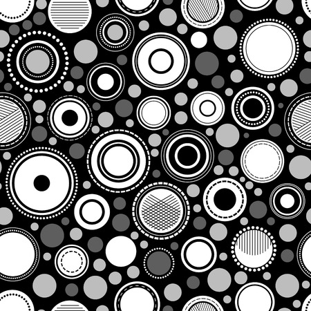 Black and white abstract geometric circles seamless pattern, vector Vector