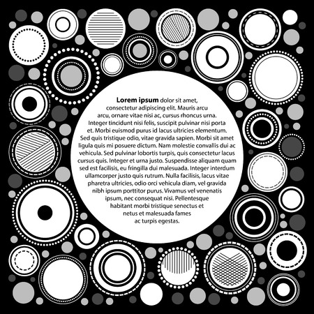 membrane: Black and white abstract geometric circles poster template for your text, vector Illustration