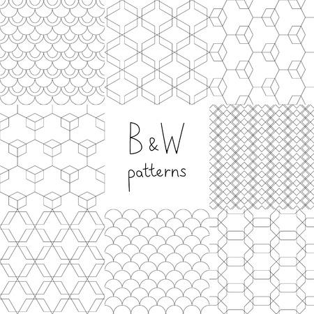petoncle: Résumé simples motifs géométriques sans soudure en noir et blanc fixé, vecteur