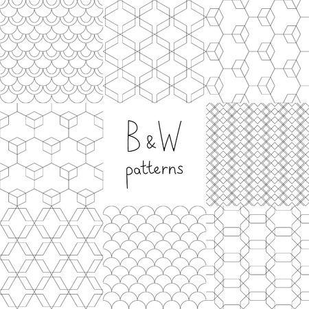 Abstract black and white simple geometric seamless patterns set, vector