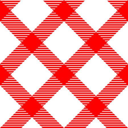 red gingham: Checkered gingham fabric seamless pattern in red and white, vector