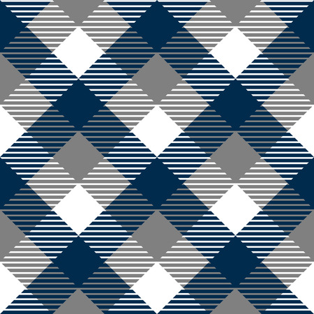 gray thread: Checkered gingham fabric seamless pattern in blue grey and white, vector