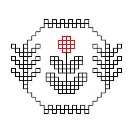 cross stitch: Black white and red ethnic flower pattern, vector