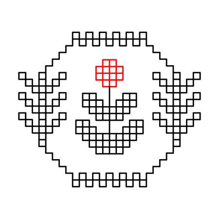 punto cruz: Negro blanco y rojo patrón de flor étnica, vector