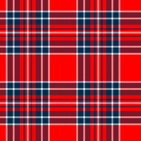 Tartan traditional checkered british fabric seamless pattern, red and blue