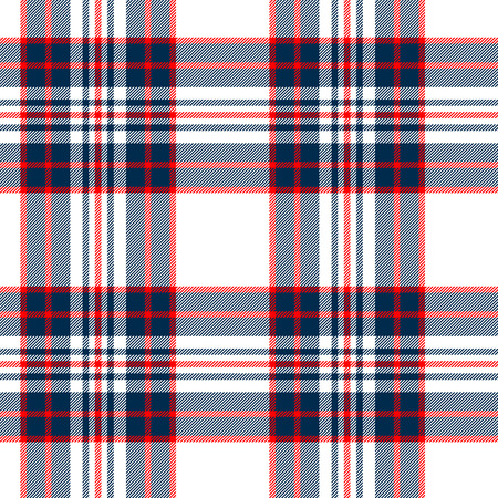 Tartan traditional checkered british fabric seamless pattern, white and blue Vector