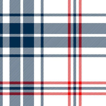 タータン伝統的な市松模様イギリス ファブリック シームレスなパターン、白、青、ベクトルします。