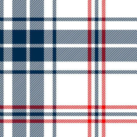 Tartan traditional checkered british fabric seamless pattern, white and blue, vector