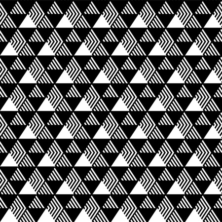 diagonal stripes: Triangles geometric seamless pattern in black and white, vector Illustration