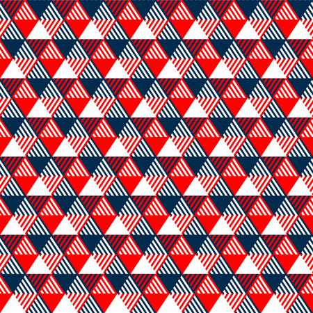 ネイビー ブルー、赤と白のベクトルで三角形幾何学的なシームレス パターン  イラスト・ベクター素材