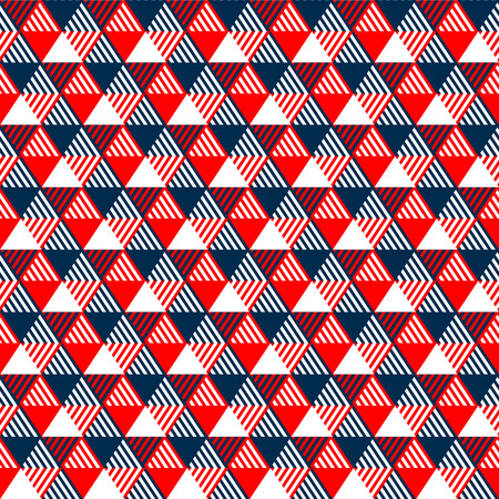 Triangles geometric seamless pattern in navy blue red and white, vector Vettoriali