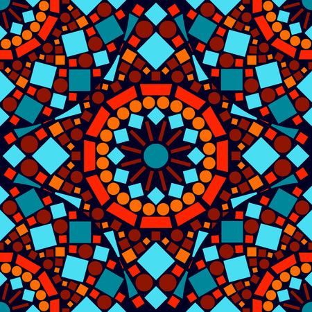 빨간색 파란색과 오렌지에서 다채로운 모자이크 원활한 패턴