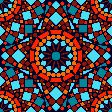 Colorful mosaic seamless pattern in blue red and orange