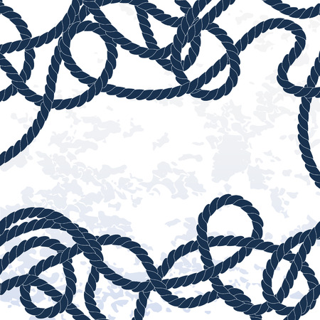 Navy and white tangled marine ropes frame background Illustration