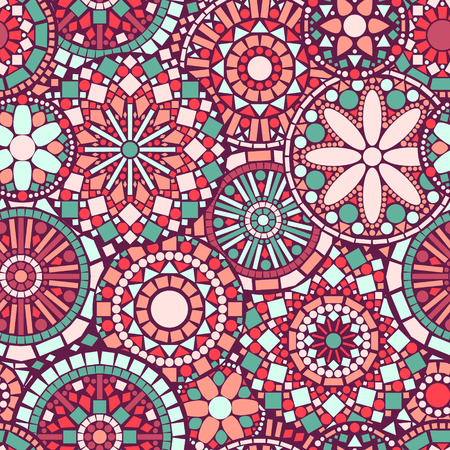 Colorful circle flower mandalas seamless pattern in pink and green