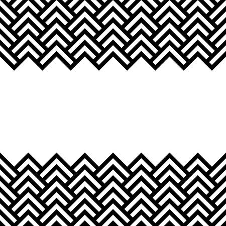 Black and white chevron geometric horizontal border frame background