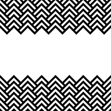 zag: Black and white chevron geometric horizontal border frame background