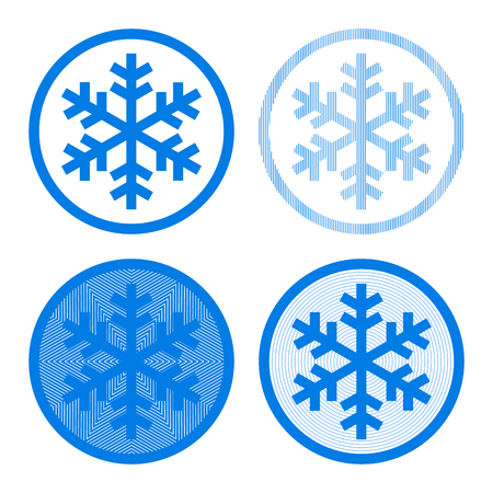 Snowflake logo four ways in blue and white, vector illustration Vector