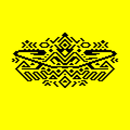 Black and yellow geometric ethnic aztec ornament, vector Vector